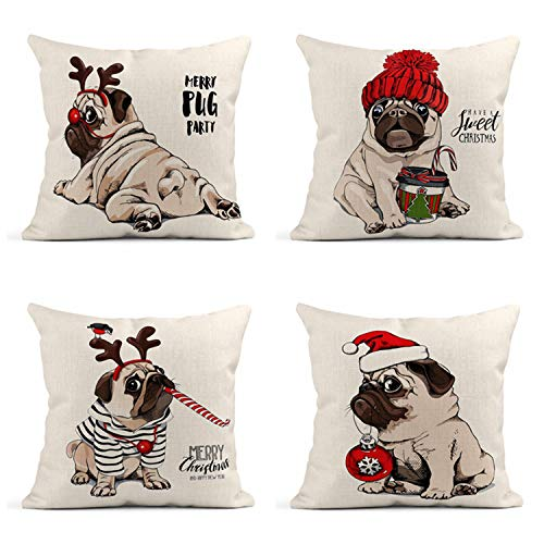 Semtomn Set of 4 Linen Throw Pillow Covers 18x18 Inch Christmas Pug Dog in Striped Cardigan Horn Deer Home Decor Cushion Covers Square Pillowcases for Sofa Couch