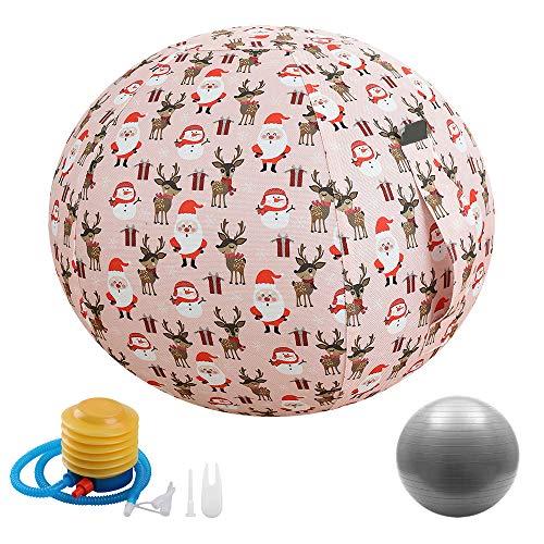 Sitzender Ballstuhl mit Abdeckung und Pumpe, Ergonomisch Übung Yoga Ball für Büro und Zuhause Muskeltraining Fitness, Geburt während der Geburt Trainingsball,75cm-Pink