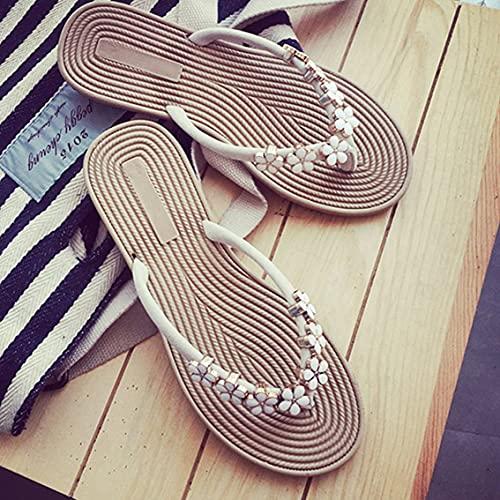 QiKun-Home Zapatillas de Tanga de Verano, Zapatos Planos para Mujer, decoración de Flores, Chanclas de Playa para Mujer, Diapositivas Casuales, Zapatillas Femeninas de Color Fresco, Beige 40