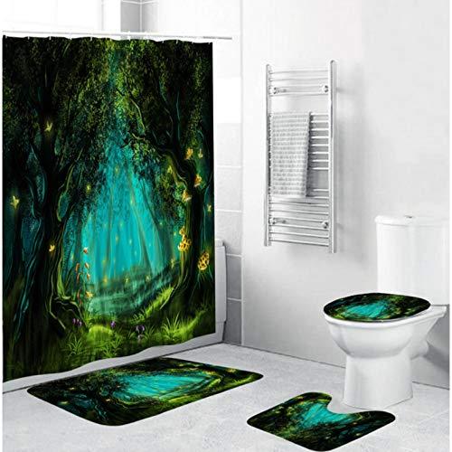 ZLWSSA Green Trees Shower Curtain Starry Sky Dark Forest Bathroom Set Rug Toilet Seat Cover Carpet Non-Slip Bath Mat C W180xH180cm
