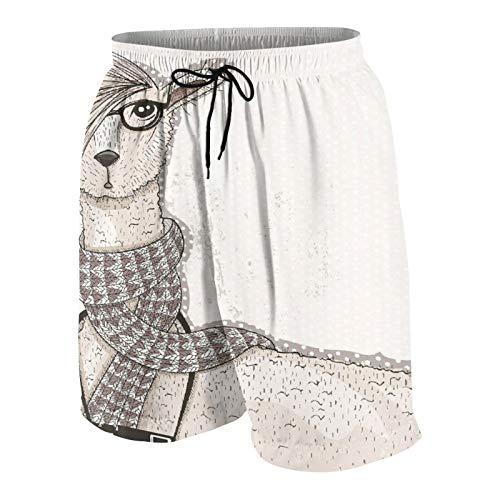 Pantalones de Playa para Adolescentes,Lama Inconformista con Estilo de Pelo y Artista de cámara gráfico humorístico Animal,Ropa de Playa Trajes de baño Shorts de Playa XL