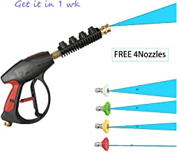 Kuhxz Pressure Power Washer Watergun 4000 PSI 4-Color Nozzles Tips Easy to Use (Inlet Outside Diameter:22mm,Inside Diameter:14mm, Black)