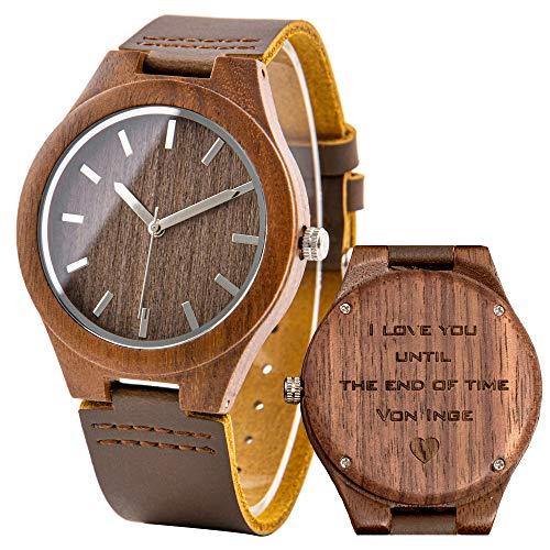 Holzuhr mit Lederarmband Walnuss Holz Uhr Herrenuhr Holzoptik Personalisierte Uhr für Männer Gravur Holz Uhr Ehemann Freund