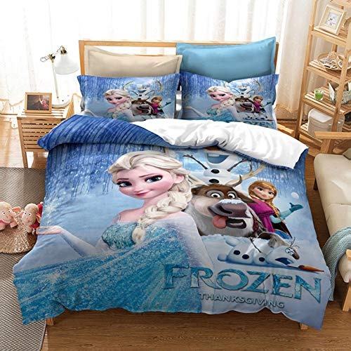 BATTE Frozen Duvet Cover Set,Anna, Elsa, Kristoff and Sven Bedding Set,Soft Quilt Cover with Pillowcases for Adults Teenager Kids Bedroom (E,200 x 200 cm)