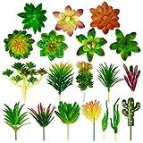 ANSUG 17 Piezas de Plantas suculentas Artificiales, pequeñas Plantas de plástico, decoración de Mini Plantas de simulación de Bricolaje para Micro bonsáis, decoración de jardín, estantería, Pared