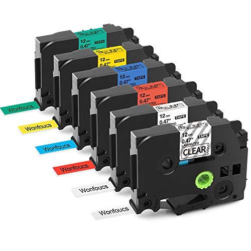Nastro per Etichette Wonfoucs Compatibile In sostituzione di Brother TZe-131 TZe-231 TZe-431 TZe-531 TZe-631 TZe-731 12mm x 8m Usato per Brother P-Touch H100LB H100R H110 P300BT H107B,confezione da 6