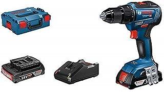 Bosch Professional 06019H5201 18V System Drill GSR 18V-55 (2X 2.0 Ah Battery, Max. Torque: 55 Nm, in L-BOXX), 18 V, Blue