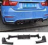 HYCy Parachoques de Coche compatibles con BMW Serie 3 F80 M3 Sedan 4 Series F82 F83 M4 Coupe Convertible 2014-2019 Difusor Trasero de Fibra de Carbono Labio 3 unids/Set