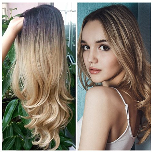 HANNE Long Hair Wavy Synthetic Hair Ombre Blonde Wigs For Black and White Women High Density Glueless Cosplay Party Wigs/Daily Wig (4/Blonde)