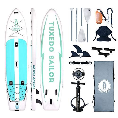 "Inflatable 12'×34""×6"" SUP with Kayak Conversion Kits Everything Included with Paddle Board, Adj 2 in 1 Paddle,Kayak seat,Fishing Rod Holder, Double Action Pump, ISUP Backpack, Leash,Waterproof Bag"
