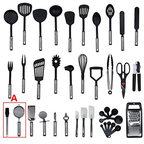 Kit d'ustensiles de cuisine en nylon et acier inoxydable (40 pièces), haute résistance à la chaleur, poêle non toxique et antiadhésive, utilisé pour la cuisine et les ustensiles de cuisine (A)