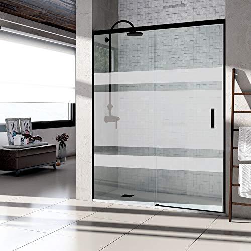 Mampara de ducha frontal puerta corredera, perfil NEGRO y cristal serigrafiado con...