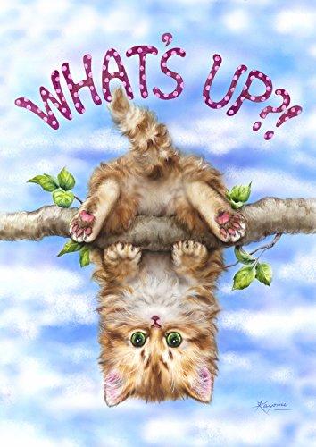 Toland Home Garden pour Appréhender Up-Decorative Chat Mignon Kitty Swinging Plaisir de Jeu extérieur Jardin d'été Drapeau, Tissu, S-12.5 x 18