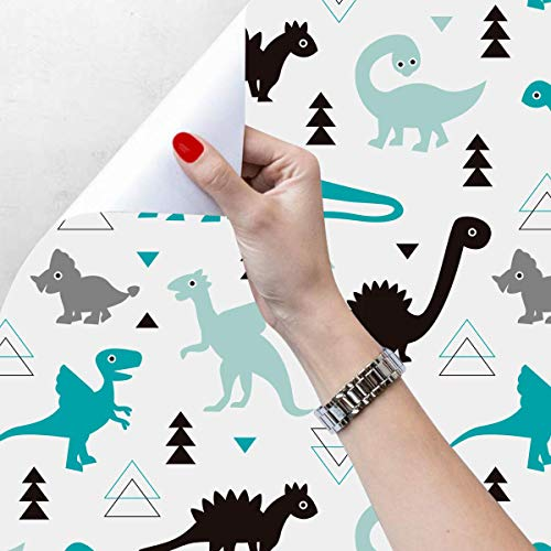 Taogift Peel and Stick Dinosaur Cartoon Contact Paper Wallpaper for Kids Boys Room Bedroom Walls Decoration 17.7x78.7 Inches