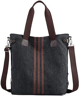 DNFC Damen Handtasche Canvas Schultertasche Groß Umhängetasche Schöne Vintage Henkeltasche Beuteltasche Frauen Mädchen Shopper Tasche Schwarz