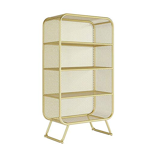 JCNFA planken 4-Shelf boekenplank met metalen draad, vintage industriële boekenkast, vloer Display plank, Office Display Stand, metalen rooster boekenplank,4 kleuren 23.62 * 11.81 * 59.05in Goud