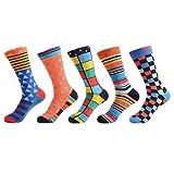 WeciBor Herren Bunt Beiläufig Gemusterte Socken Gekämmte Baumwolle Lustig Neuheit Crew Socken, 5 Paar Geometrie 1, Einheitsgröße