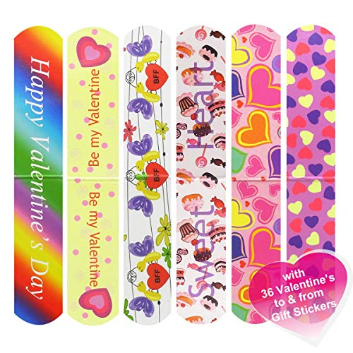 Cualfec 36 PCS Valentine's Day Magnetic Bookmark for School Prizes and Valentine's Party Favors for Kids - 6 Different Designs