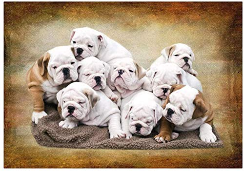 NA The Wooden Puzzle 1000 Pieces,Jigsaw Puzzle, Adult Children's Educational Toys,English Bulldog Pups