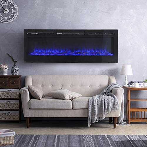 FIDOOVIVIA Electric Fireplace Wall/Insert Mounted Fire Suite Heater with...