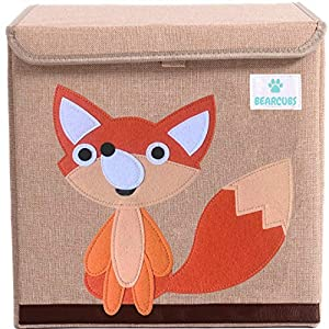 BEARCUBS Small Toy Chest Foldable Stackable Storage and Organization Box for Kids – Nursery, Living Room, Playroom – Toy Bin with Lid – Designs for Boys and Girls (Fox)