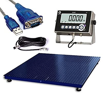 PEC Scales Warehouse Heavy Duty Industrial Pallet Floor Scale with Stainless Steel Indicator (48x48)