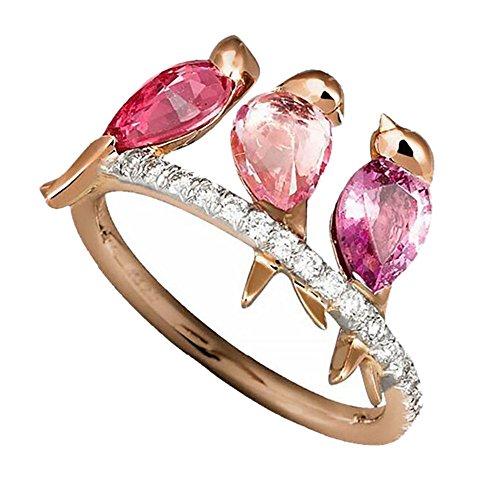 jieGorge Anillos, Joyas de Animales para Hombres y Mujeres, 3 pájaros con Incrustaciones de rubí, Oro Rosa galvanizado, Joyas para Regalos de Mujeres (Oro Rosa 8)