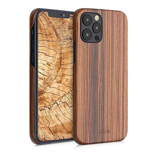 kalibri Cover Compatibile con Apple iPhone 12/12 PRO in Legno Naturale e aramide - Wooden Case Porta-Cellulare Rigida - Custodia Protettiva Ultra-Slim