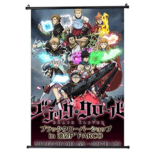 SosoJustgo2 Anime Black Clover No Fading Poster Decorative Art Poster Fabric Painting Poster Wall Picture Hanging Scroll Painting Home Bedroom Decoration for Anime Fans Gift(S 20×30CM Style 2)
