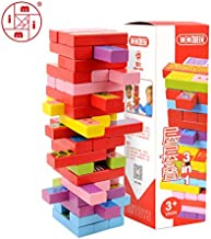 EOFK Mitoys 52 Pcs 3 in 1 Wooden Blocks Building Tower Toy Domino Stacker Board Game Family/Party Funny Extract Building Blocks Teen Must Haves 4 Year Old Gifts The Favourite DVD Superhero Toys