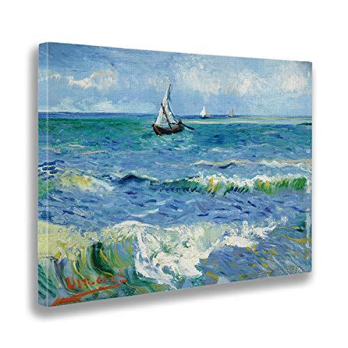 Giallobus - Quadro - Vincent Van Gogh - Il Mare a Les Saintes Marines - Stampa su Tela Canvas - Pronto da Appendere - Vari Formati - 70x50 cm