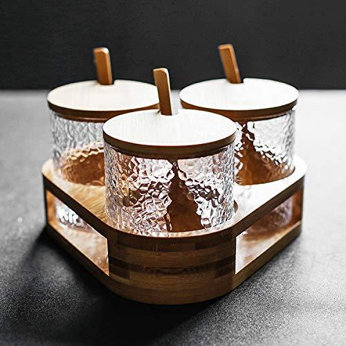 Raing Designer Handgefertigte Hammer Grain Glas Gewürz Schachtel Set Haushalt Gewürz Flasche Zuckerglas Salz Glas Pfeffer Glas