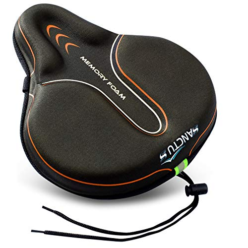 Bike Seat Cushion Cover Memory Foam, Large Wide Bicycle Saddle Soft for Men Women, Comfort Exercise Cycle Seats Cover Padded Fits Stationary Bikes, Cruiser, Spin, with Waterproof Cover Orange