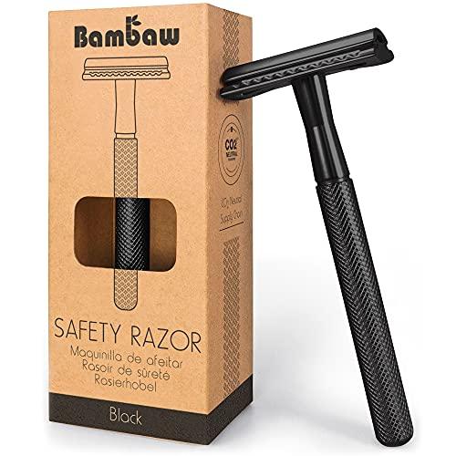 Maquinilla de Afeitar Clásica Negro | Maquinilla de Afeitar para Hombre | Cuchilla de Afeitar | Compatible con Todas las Hojas de Afeitar | Productos Ecológicos | Maquinilla de Afeitar | Bambaw