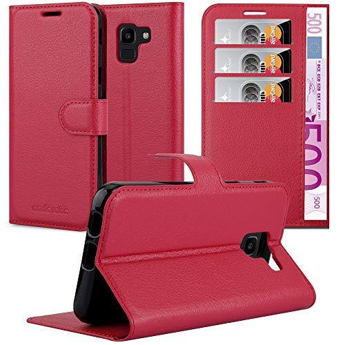 Cadorabo Hülle für Samsung Galaxy J6 2018 in Karmin ROT - Handyhülle mit Magnetverschluss, Standfunktion & Kartenfach - Hülle Cover Schutzhülle Etui Tasche Book Klapp Style