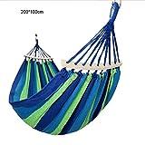 myfsports doppia amaca da campeggio - altalena a fune sospesa per interni,esterni,giardino,patio,veranda,cortile 100 * 200cm blue