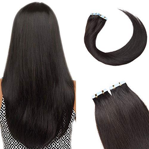SEGO Extensions Adhesives Cheveux Naturels Bande Adhésif - 35 CM 1B#Noir Naturel [2g X 10 pcs] - Vrai Cheveux a Froid Invisible Tape In Remy Hair