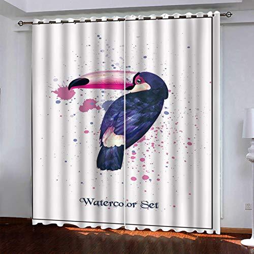 WLHRJ Cortina Opaca en Cocina el Salon dormitorios habitación Infantil 3D Impresión Digital Ojales Cortinas termica - 280x200 cm - Loro Animal Pintado