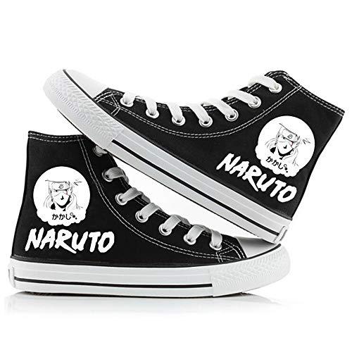 LKKOY Parcial Naruto Lona High-Top Zapatos Casuales Talla Grande Zapatillas De Mujer Zapatillas De Deporte Zapatillas Altas,Black 41