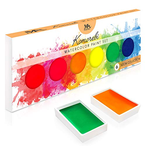 MozArt Supplies Neon Komorebi Watercolor Paint Set, with 6 Vivid Colors, Portable and Lightweight, Perfect for Artists, Students and Hobbyists