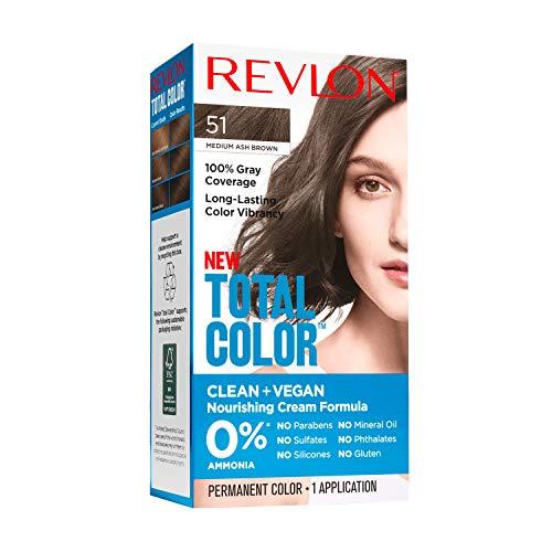 Revlon Total Color Permanent Hair Color, Clean and Vegan, 100% Gray Coverage Hair Dye, 51 Medium Ash Brown, 3.5 oz