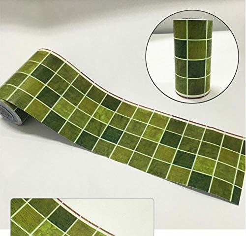 Dekorative Bordüre Selbstklebende Grünes MosaikBadezimmer Wohnzimmer Küche PVC Tapetenbordüre Taille Wandtattoo Wasserdicht Bodenleiste Wandaufkleber10CMX1000CM