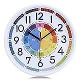 lafocuse orologio da parete per imparare l'ora bambini colorato orologio al quarzo didattico silenzioso per soggiorno cameretta bambini scuola 30cm