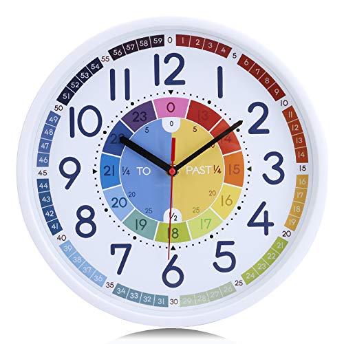 Lafocuse Reloj de Pared Niños Colorido Educativo Silencioso Reloj de Cuarzo Decorativo Aprender a Leer la Hora Salon Niños Habitacion Escuela 30cm