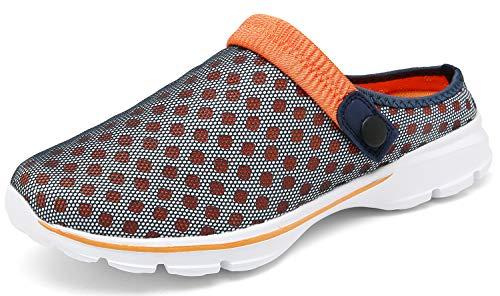 ChayChax Zuecos Mujer Hombre Zapatillas de Playa Respirable Sandalias Verano de Malla Ligeros Antideslizante Clogs Zapatos de Jardin, Azul Naranja, 41 EU