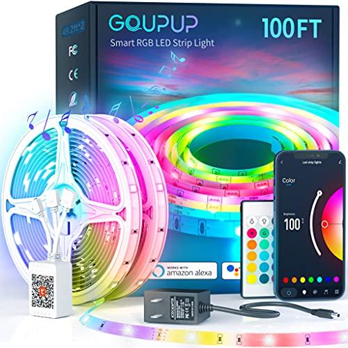 Smart LED Strip Lights 100ft,Sync Music Color Changing RGB Led Lights Strip for Bedroom,12 Volt 5050 App/Remote Control Smart LED Lights for Room,Home Decor (Work with Alexa/Google Assistant)