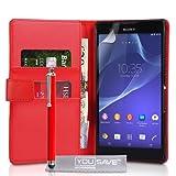 Yousave Accessories Kompatibel Für Sony Xperia T2 Ultra Tasche Rot PU Leder Brieftasche Hülle Mit Handgriffel Stift