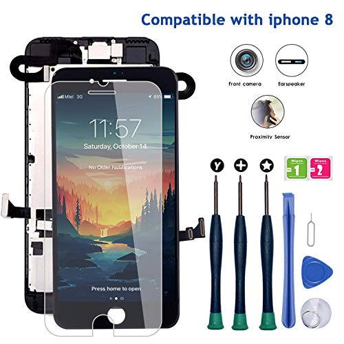 Compatible with iPhone 8 Screen Replacement, LCD Display 3D Touch Screen Digitizer Full Assembly with Proximity Sensor, Ear Speaker and Front Camera (Screen Replacement for iPhone 8 Black)