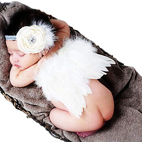 CiaraQ Newborn Baby Photography Props Feather Angel Wings and Rhinestone Headband Set Baby Hair Accessories Photo Prop White