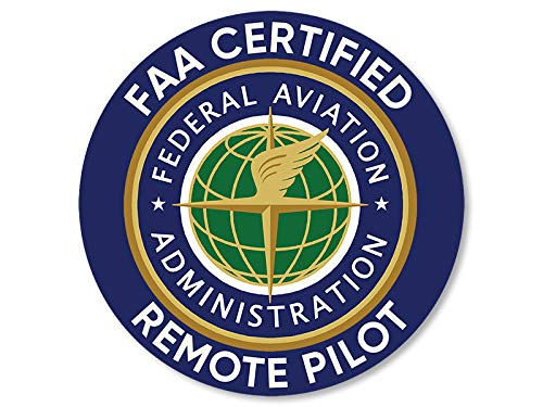 American Vinyl Round FAA Certified Remote Pilot Sticker (Logo Drone Federal Aviation Certification)